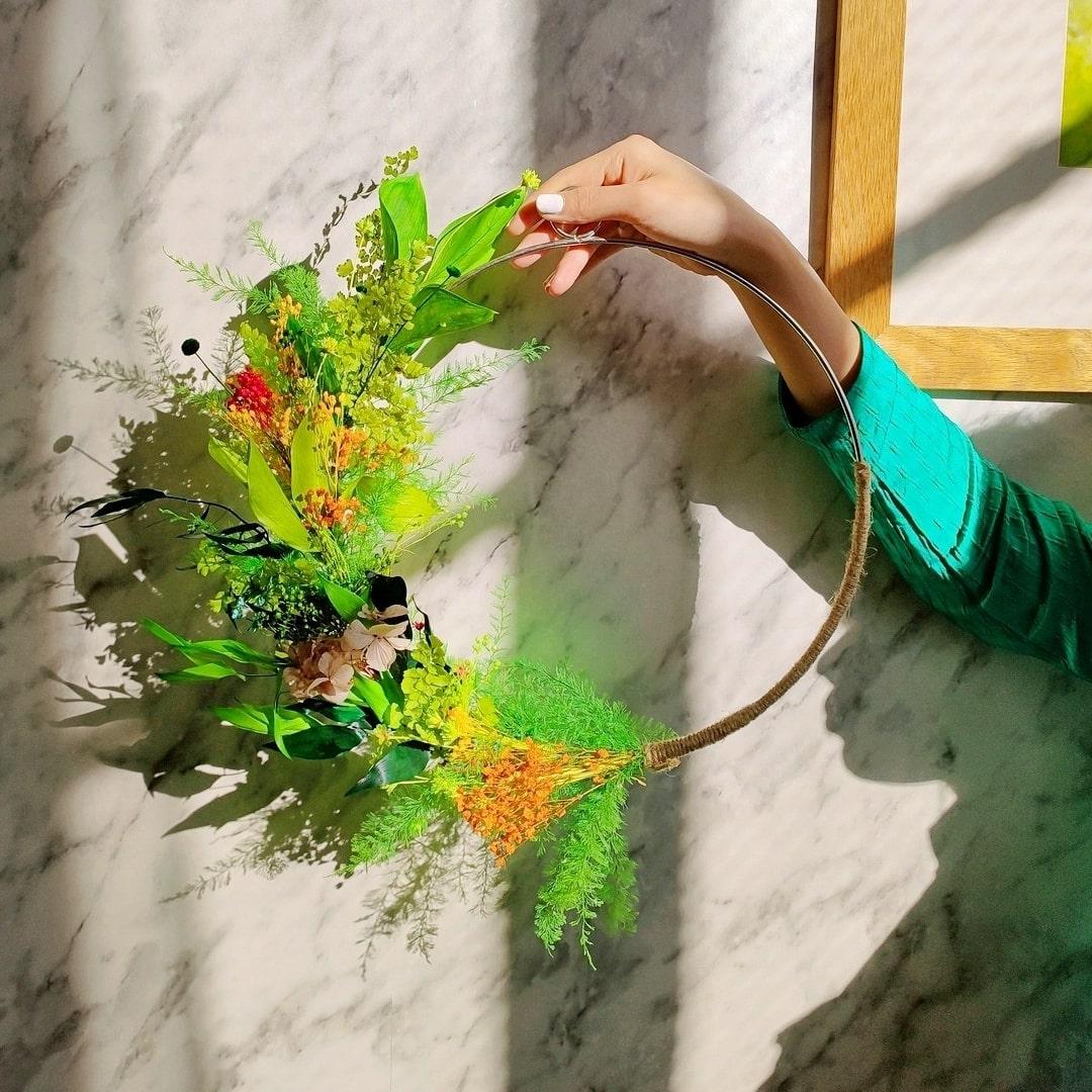 Activité Couronne de fleurs séchées